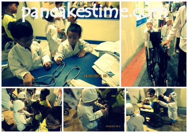 Dipasangin seragam oleh coach, dijelasin tentang pekerjaan dokter, dikasih stetoskop, deteksi jantung pasien, ngobatin pasien, ampe dorong pasien pake kursi roda ke RS :p
