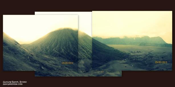 Kenampakan Gunung Batok dari Kawah Bromo. Dikarenakan lensa saya tidak panjang, jadinya terpaksa 3 capture digabungkan jadi satu. No zooming. Tuh dekat banget kan jadi pengen ngegaruk kaan? kaan? kan?