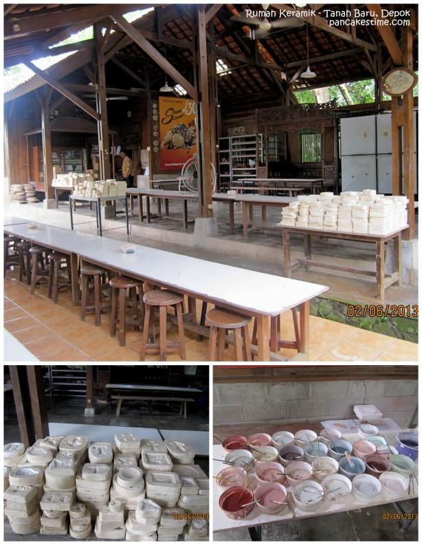 Ruang pembuatan keramik, bermacam cetakan dan aneka pewarna keramik.