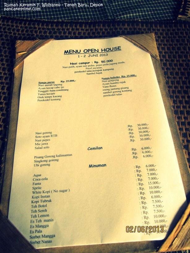 menu di resto Rumah Keramik F. Widyanto, Depok