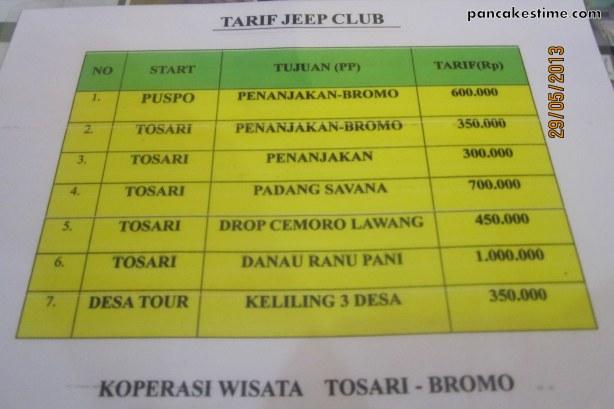 tarif jeep club bromo